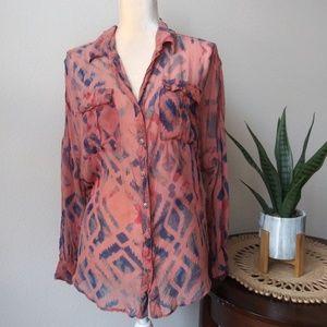 Tie Dye gypsy 05 Sheer buttons down 100% silk